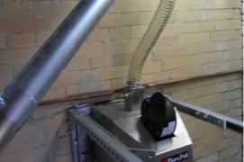 Sumontuotas ir paleistas X.260 (260 kW) granulių degiklis salyklo džiovinimo krosnyje